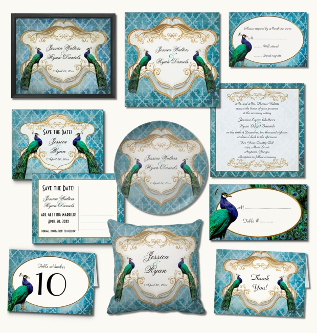 Royal Peacock Wedding Invitation Suite