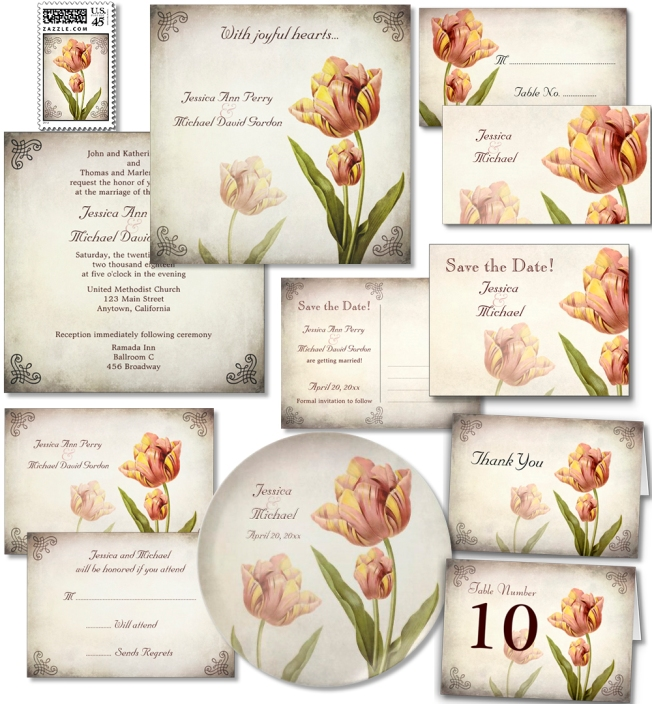 Vintage Pink Parrot Tulip wedding invitation suite