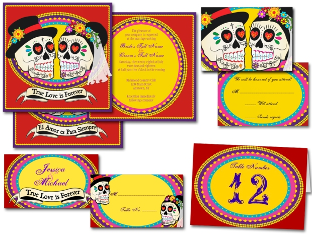 Los Novios Day of the Dead wedding invitations