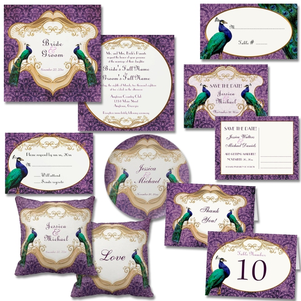 Purple Vintage Peacock Wedding Suite