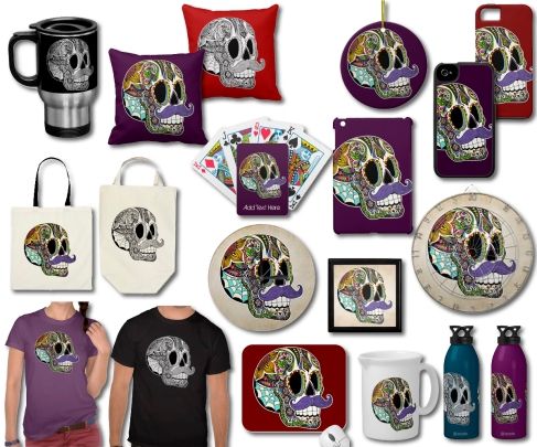 Mustache Sugar Skulls on Zazzle