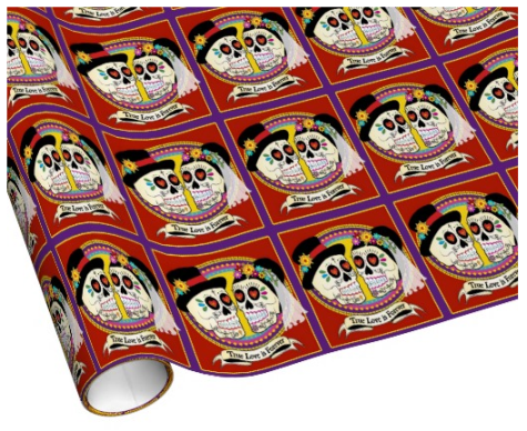 Los Novios Sugar Skull Wrapping Paper