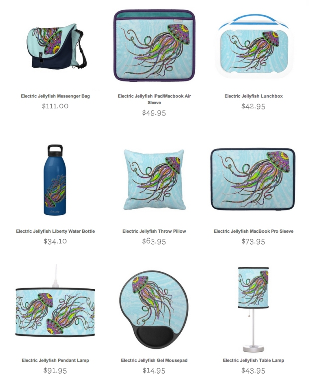 hand inked jellyfish zazzle products