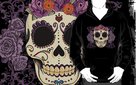 Vintage Skull and Roses Hoodie on RedBubble